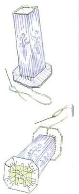 Объёмная вышивка крестом. Вышивка на вазе. Схема.