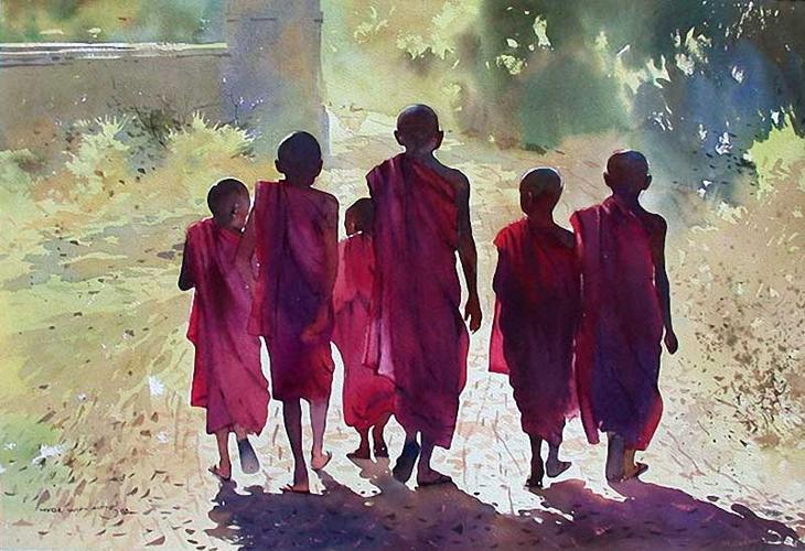 Акварельные картины художник Мьё Вин Онг 34
