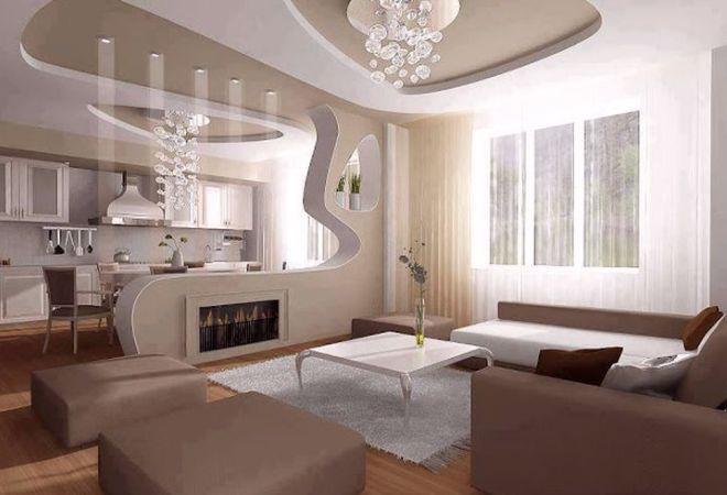 зонирование кухни гостиной перегородкой