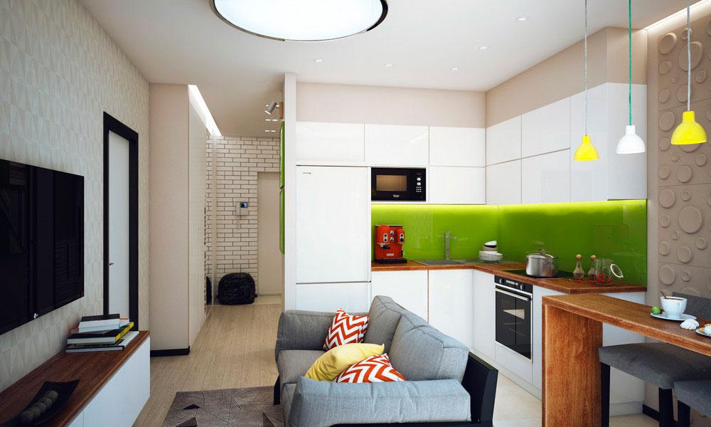 Дизайн кухни коричнево-зеленая