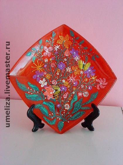 """Декоративная посуда ручной работы. Ярмарка Мастеров - ручная работа декорат.тарелка """"Цветы"""". Handmade."""