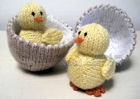 пасхальный цыпленок в яйце спицами