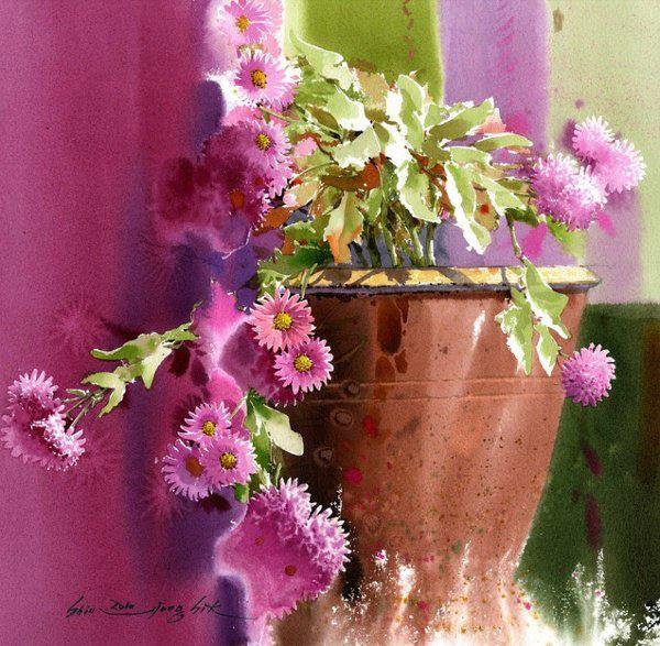 Цветочная акварель Shin Jong Sik