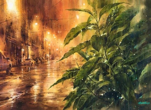 24 необыкновенные акварельные картины с дождливыми пейзажами