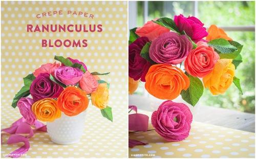 цветы из гофрированной бумаги, ранункулюсы из гофрированной бумаги, простой и подробный мастер-класс, МК, мк, яркие цветы