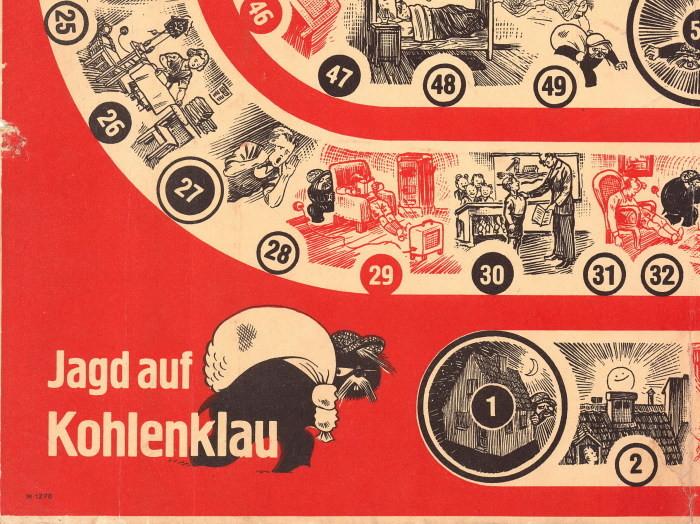 Игра Jagd auf Kohlenklau («Охота на угольного вора»), в которой детей на наглядных примерах приучали к экономии ценного ресурса. германия, настольные игры, пропаганда