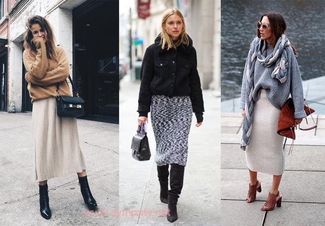 С чем можно носить вязаную юбку?