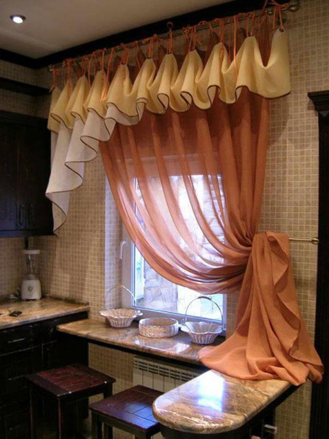 Фасон штор на кухню своими руками