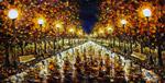 Ночной городской пейзаж - Ночной ПАРК - живопись маслом и мастихином - картина большого формата - художник Валерий Рыбаков