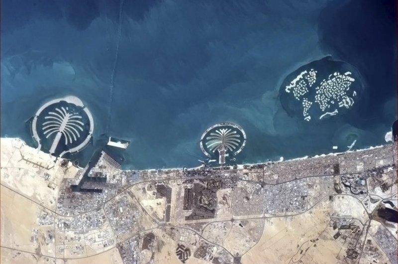 Острова Дубая в ОАЭ земля, космос, красота, природа, фото