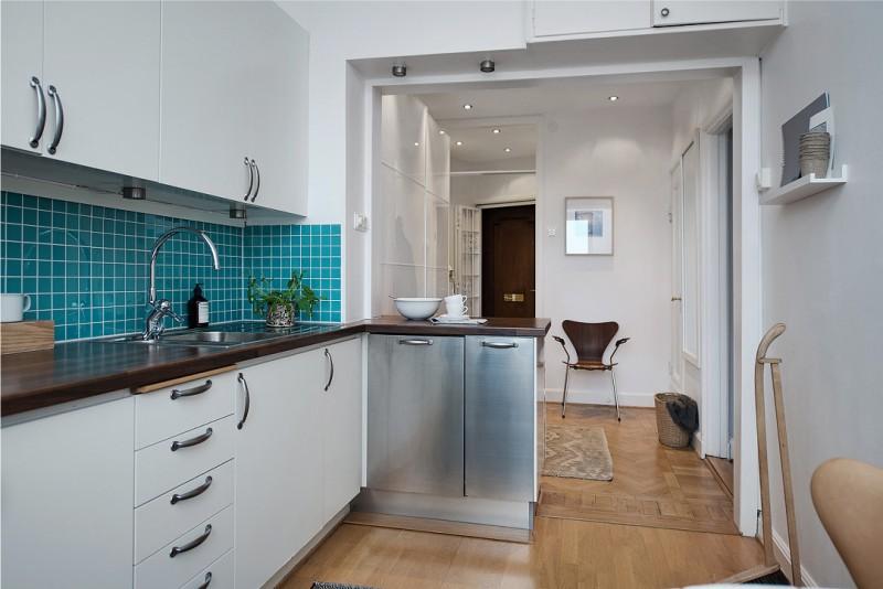 Зонирование кухни, совмещенной с прихожей