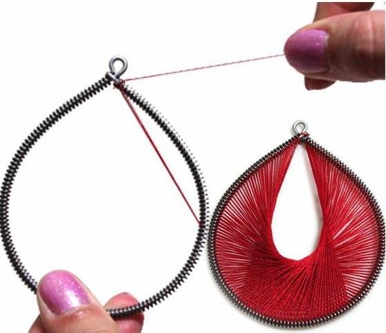 Как сделать сережки с ниток