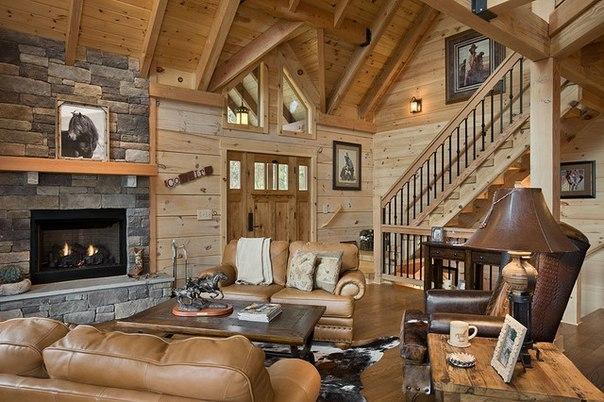 Прекрасный интерьер деревянного дома
