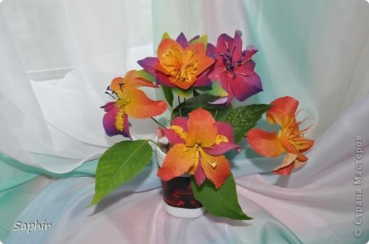 Поделка изделие Бумагопластика цветы из гофробумаги  мастер-класс Бумага гофрированная фото 1