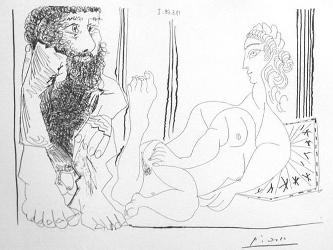 Пабло Пикассо. Мужчина, наблюдающий за лежащей обнаженной. 1968 год