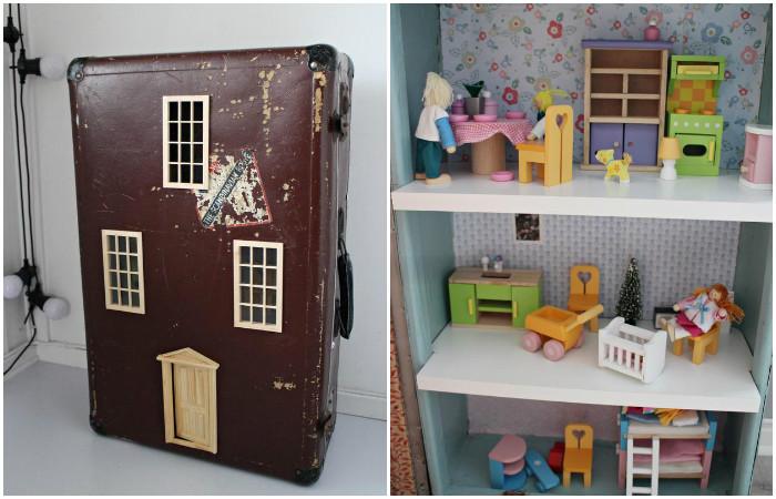 Детские мечты: как сделать прелестный кукольный домик из старого чемодана