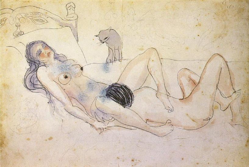 Пабло Пикассо. Мужчина и женщина с кошкой. 1902 год