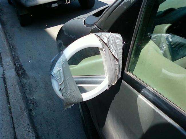20. Зеркало ванной комнаты тоже подойдет для машины  авто, прикол, ремонт