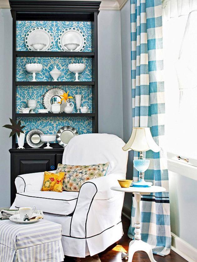 Гостиная, холл в цветах: бирюзовый, черный, серый, белый, сине-зеленый. Гостиная, холл в стиле английские стили.