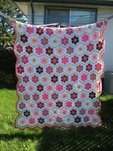 связать одеяло из шестиугольников крючком, пэчворк