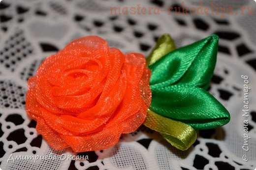 Заколка для волос с розой из органзы. МК