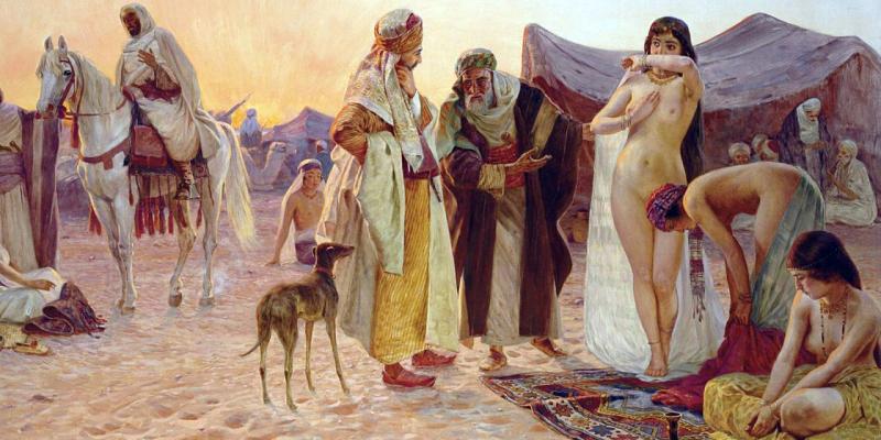 Порно хозяин устроил групповой секс с молодыми рабынями