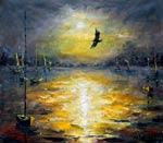 Ночной морской пейзаж - Ночное море - живопись маслом и мастихином - КОНЕЦ - художник Валерий Рыбаков. Продажа картины.