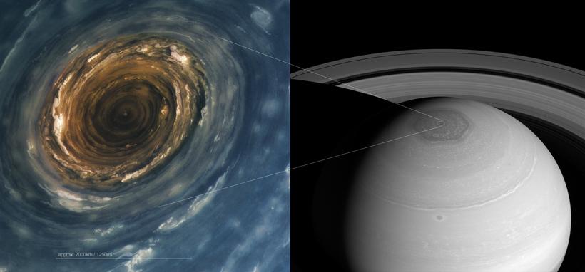 В атмосфере Сатурна существует гигантский вихрь правильной шестиугольной формы