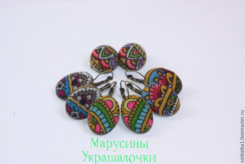 Делаем серьги из Павлопосадского платка в славянском стиле