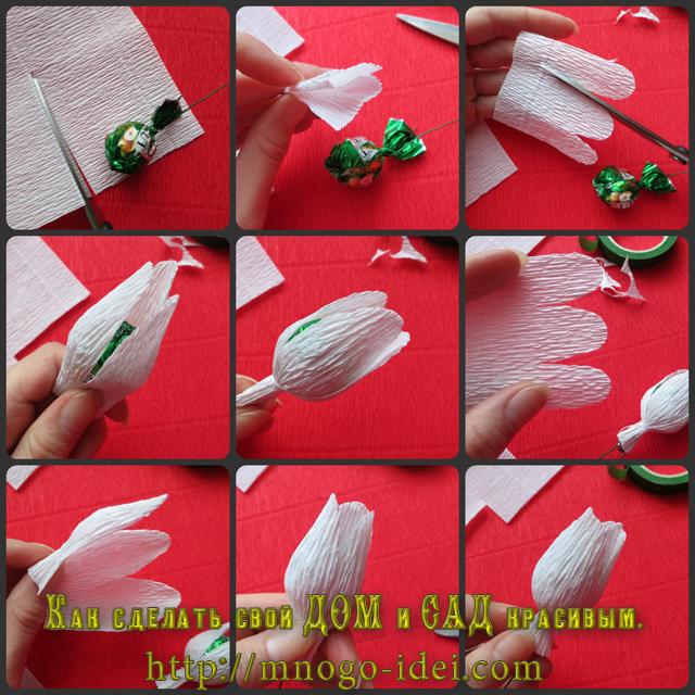 Тюльпаны из гофрированной бумаги своими руками пошаговое