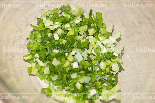 Зеленый лук мелко нарезать и выложить в миску.
