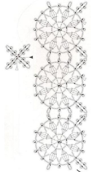 Вязанные снежинки. Схема.
