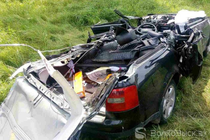 Audi проехал между осями скотовоза - у автомобиля сорвало крышу