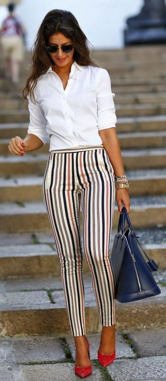 Полосатый тренд: 32 стильных варианта модных полосатых брюк 2017