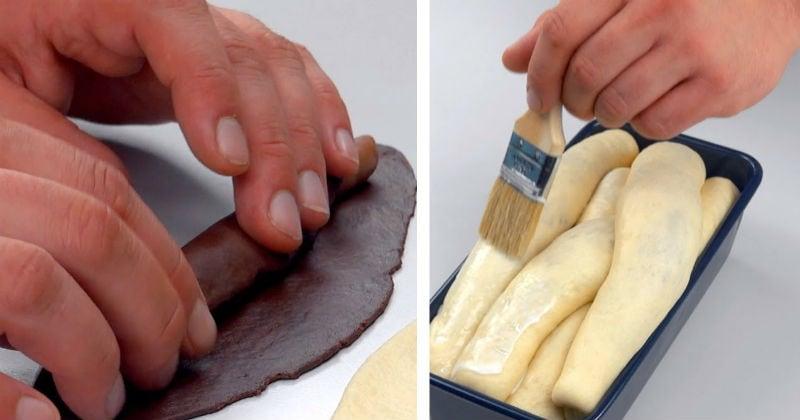 Просто подкрасьте тесто щепоткой какао, чтобы приготовить это чудо