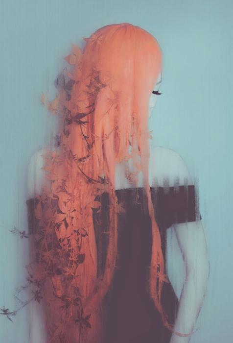 Девушка с красными волосами. Автор работ: фото-иллюстратор Лесли Энн О'Делл (Leslie Ann O'Dell).