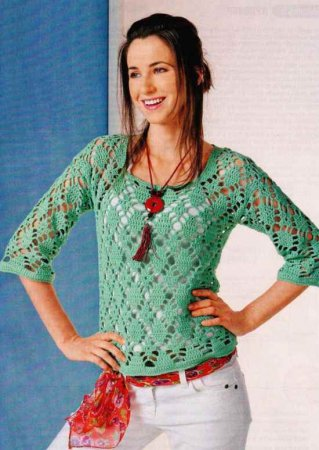 Ажурный пуловер из ромбов