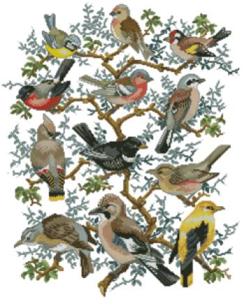 Вышивка «Дерево с птицами»
