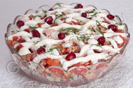 Салат с копченой курицей Зимний вечер