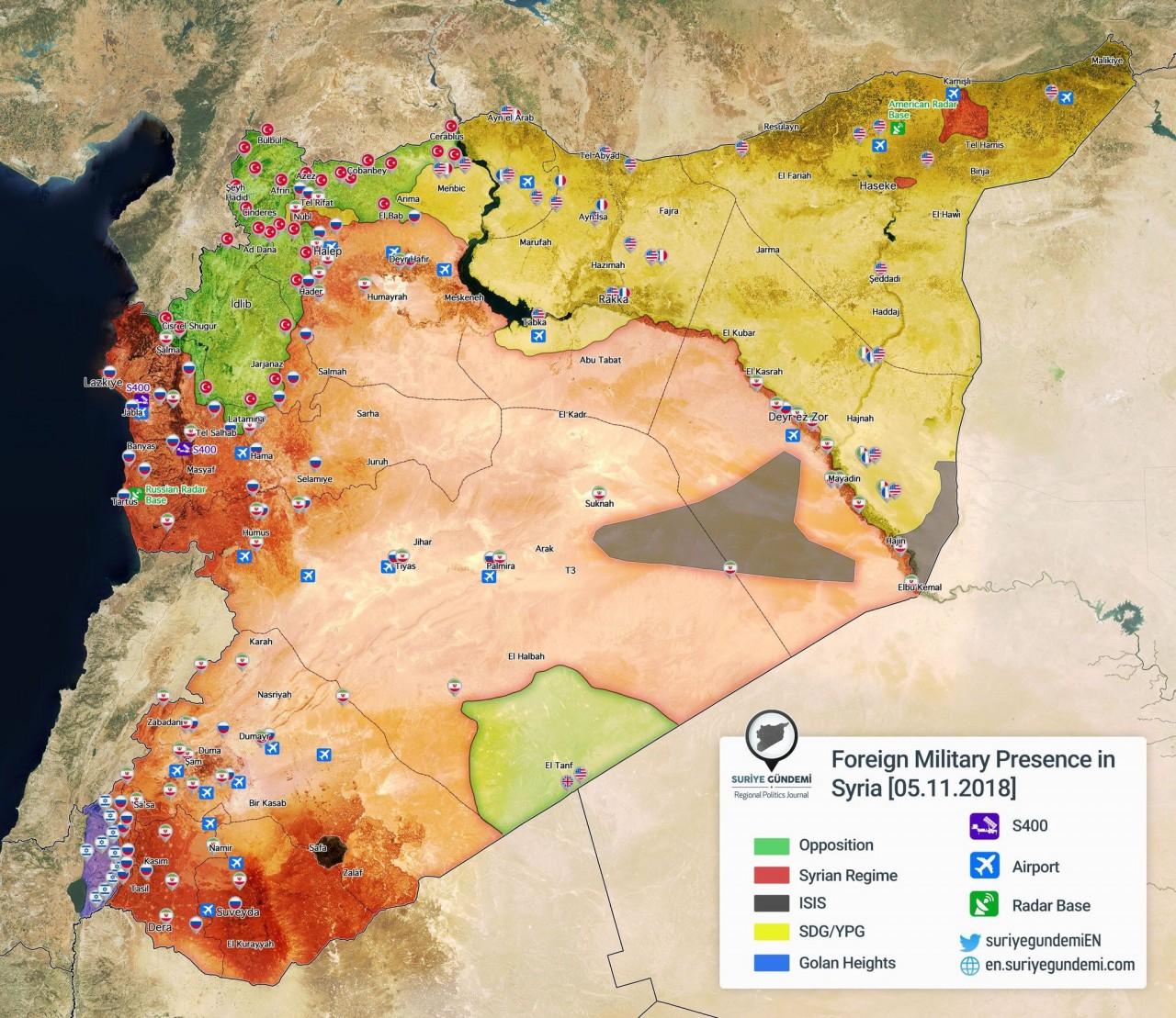 Иностранное военное присутствие в Сирии. 05.11.2018