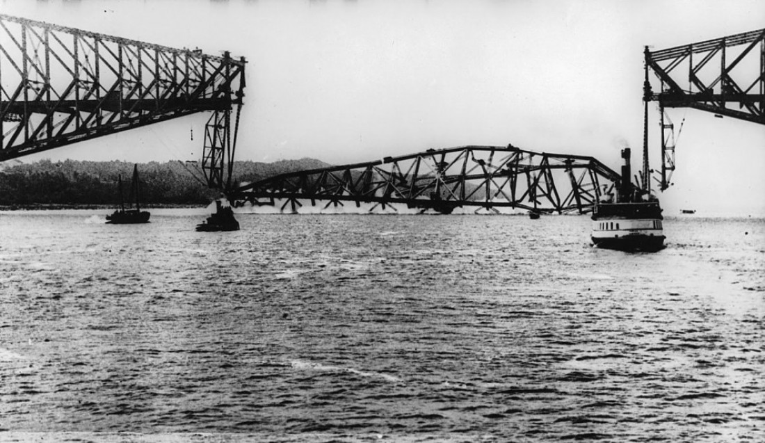 12 Sep 1916, Quebec, Canada --- Quebec, Canada: The Quebec Bridge is shown where it collapsed, killing over 20 people. The Quebec Bridge had also fell two years prior, with a great loss of life. --- Image by © Bettmann/CORBIS