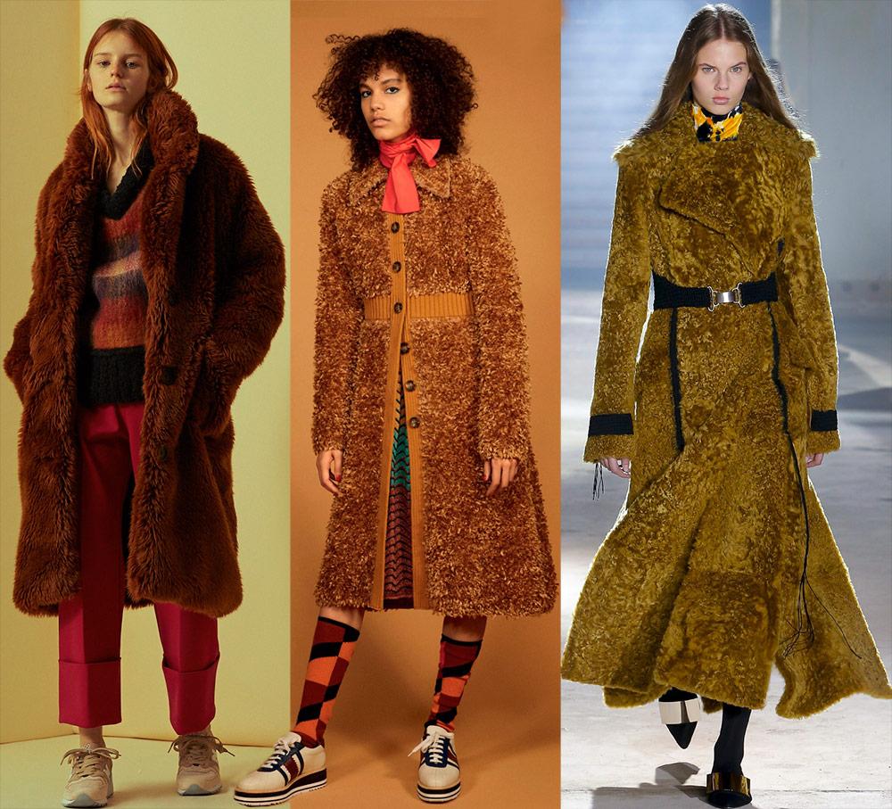 Верхняя одежда из плюша в осенне-зимних коллекциях 2018-2019