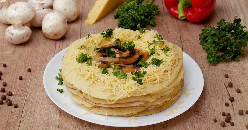 Закусочный блинный торт:  бюджетный вариант праздничного блюда