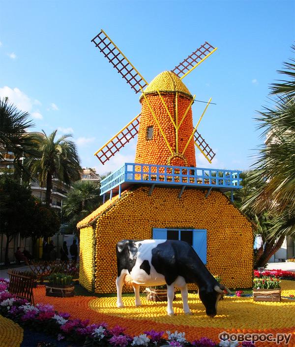 Фете Ду Цитрон - Цитрусовый фестиваль в Ментоне (Франция) - Мельница из апельсинов и лимонов