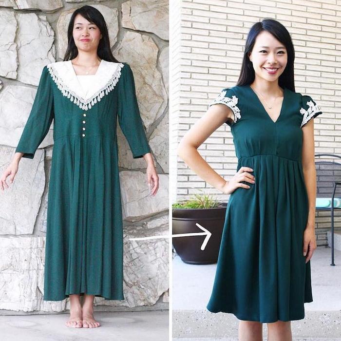 Платье до и после: отличный результат.