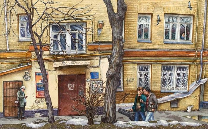 Москва в Акварелях Алёны Дергилёвой картина, Дергилёва, Москва, акварель, длиннопост
