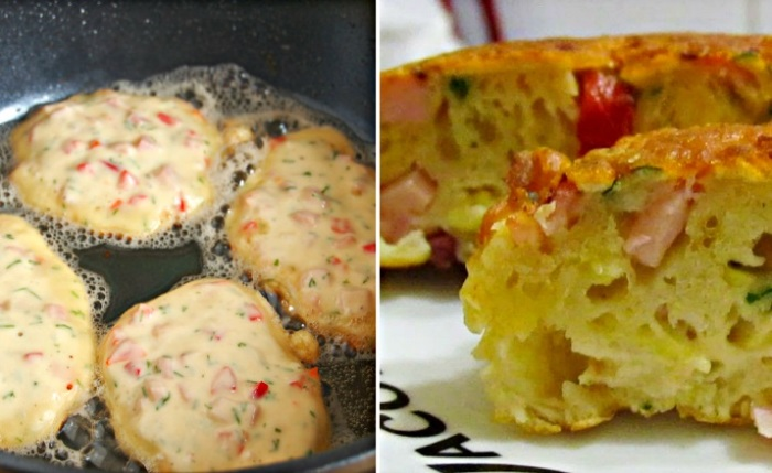 Оладушки-пиццы на сковородке, которые готовятся в два счета: домашние съедят абсолютно все и сразу