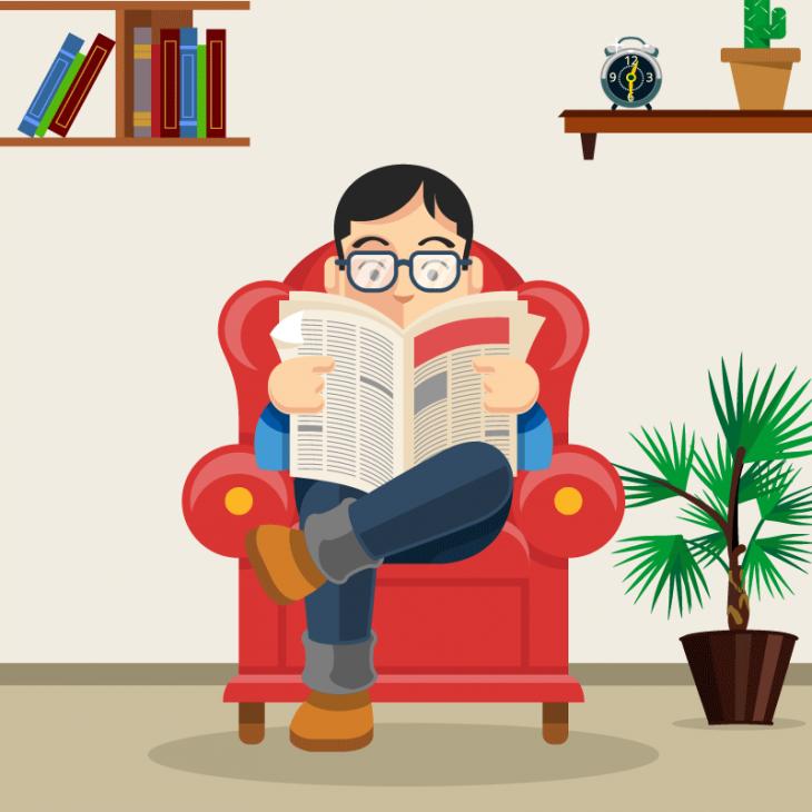 Выходной день. Муж сидит в кресле и читает газету, а жена протирает пыль на полках.