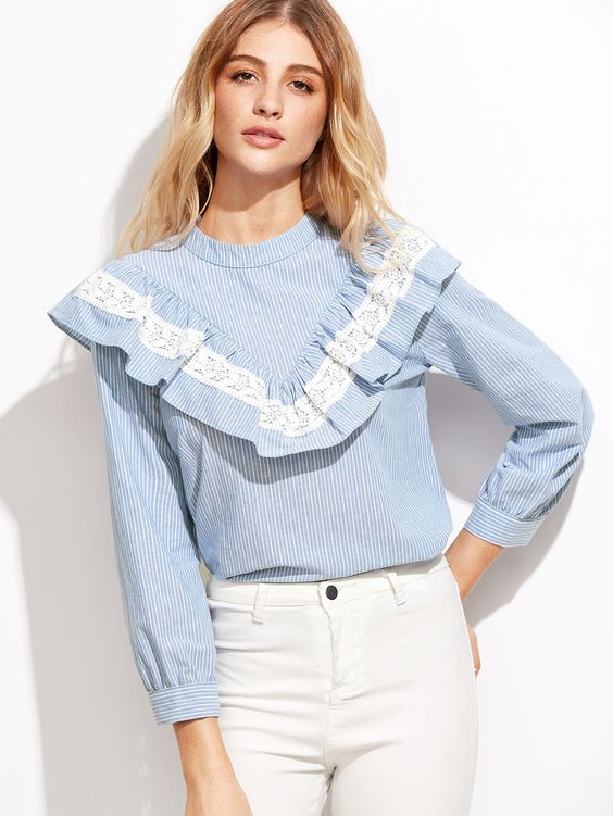 Shop Blue Vertical Striped Lace Trim Ruffle Blouse online. SheIn offers Blue Vertical Striped Lace Trim Ruffle Blouse & more to fit your fashionable needs.