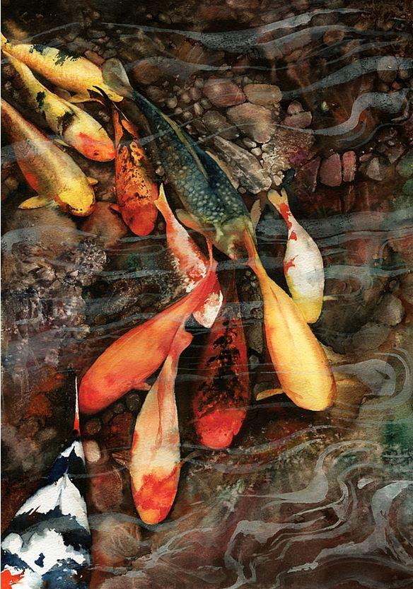 Peter Williams. Анимализм в акварели. In the Swim. Бумага,акварель. 16x11 дюймов